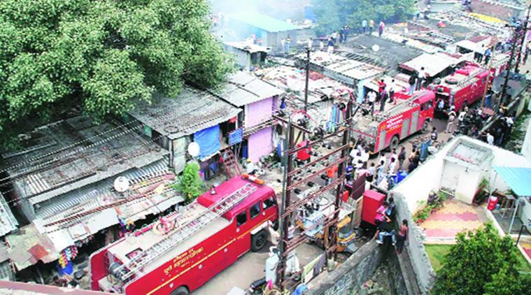 pimpri slum fire, pune slum fire, pune fire, fire in pune slum, pune fire, pune news, indian express news
