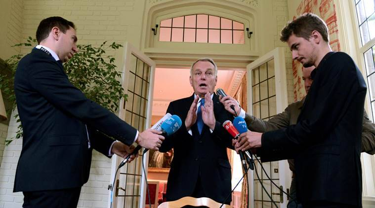 French Foreign Minister Jean-Marc Ayrault makes remarks to the press on the crisis in Syria, at the ambassador's residence, after meeting earlier with U.S. Secretary of State John Kerry, in Washington, October 7, 2016. REUTERS/Mike Theiler