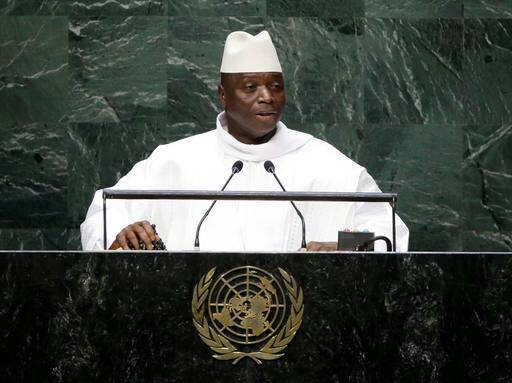 "FILE - In this Sept. 25, 2014, file photo, Gambia's President Yahya Jammeh addresses the 69th session of the United Nations General Assembly at the United Nations headquarters. A third African country, Gambia, says it will leave the International Criminal Court as fears grow of a mass pullout from the body that pursues some of the world's worst atrocities. Gambia announced the decision on television Tuesday, Oct. 25, 2016, accusing the court of unfairly targeting Africa and calling it the ""International Caucasian Court."" (AP Photo/Frank Franklin II, File)"