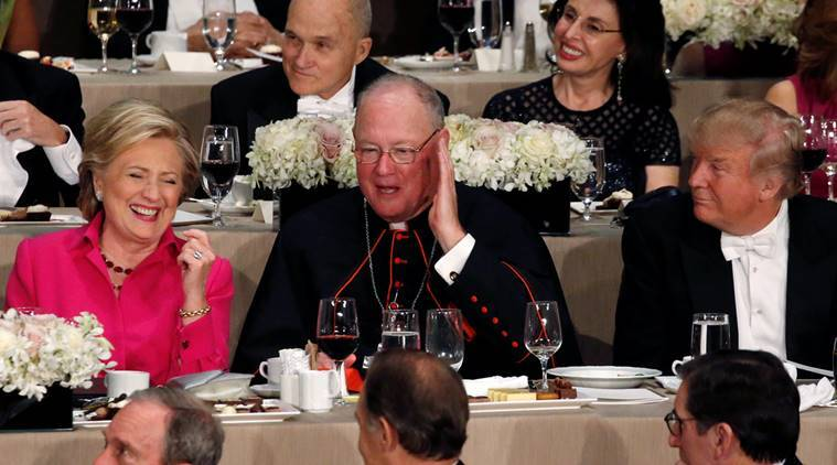 US, US elections 2016, US election campaign, Alfred E. Smith Memorial Foundation dinner, dinner, US presidential elections, US presidential candidates, Donald Trump, Hillary clinton, democratic clinton, republican trump, hillary, trump, US elections news, world news, indian express