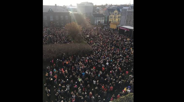 iceland, iceland protests, iceland women, iceland women workers, iceland female workers, wage disparty, women rights iceland, iceland women rights, iceland gender protests, iceland news, indian express news