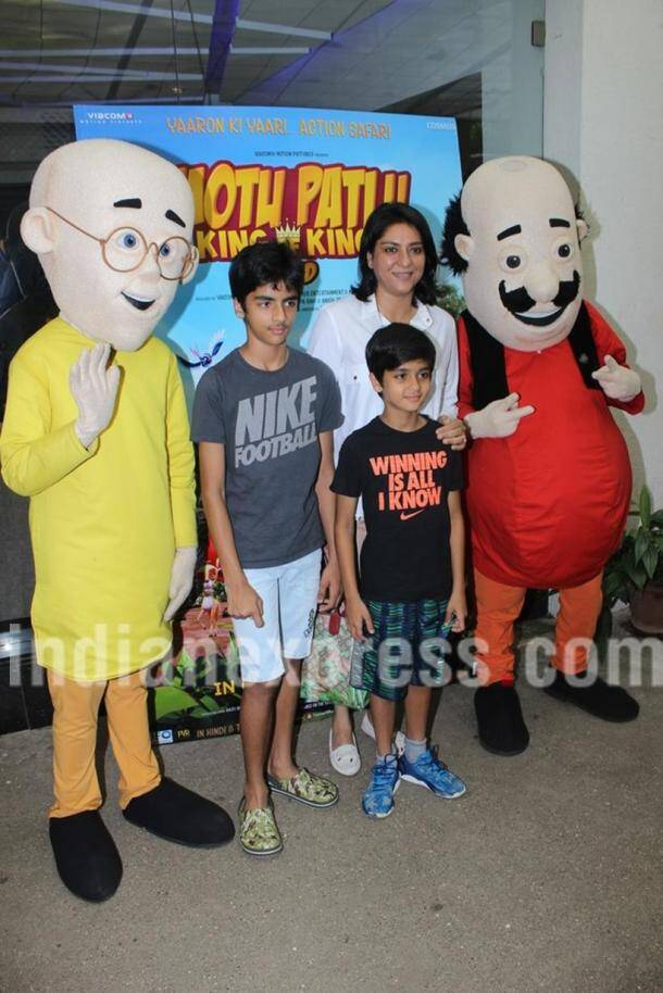 Sussanne Khan takes sons Hrehaan, Hridhaan to meet Motu Patlu