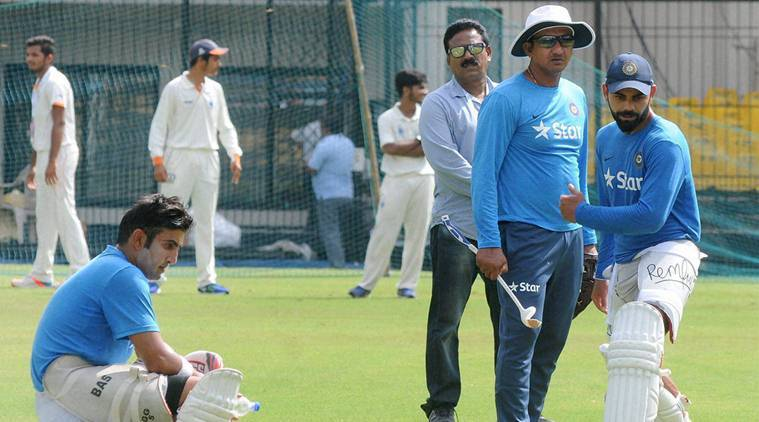 Indore: Indian cricket team captain Virat Kohli , Gautam Gambhir and Rohit Sharma during a practice session in Indore on Thursday. PTI Photo (PTI10_6_2016_000250B)