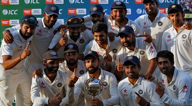 India were presented with the Test mace after winning the New Zealand series. (Source: Reuters)