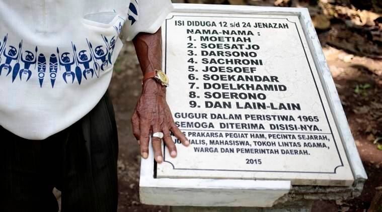 Indonesia, Indonesia mass graves, Indonesia failed coup, 1965 massacre, 1965 coup, massacre memorial monument, Indonesian memorial monument, Indonesia news, world news, Indian express