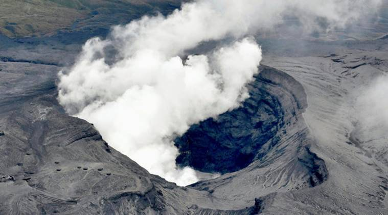 japan, japan volcano, japan volcano erupts, volcano erupts, japan mount aso, mount aso, mount aso erupts, mount aso japan, japanese volcano erupts, world news, japan news, latest news, indian express