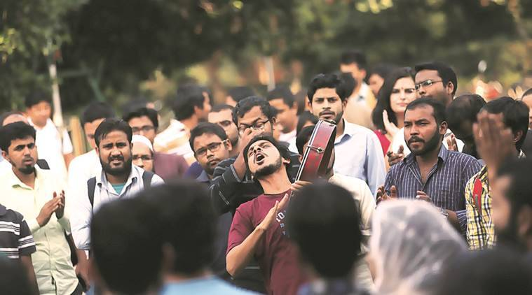 A protest against the disappearance of JNU student Najeeb Ahmad in the university Tuesday.  (Express Photo by Tashi Tobgyal)
