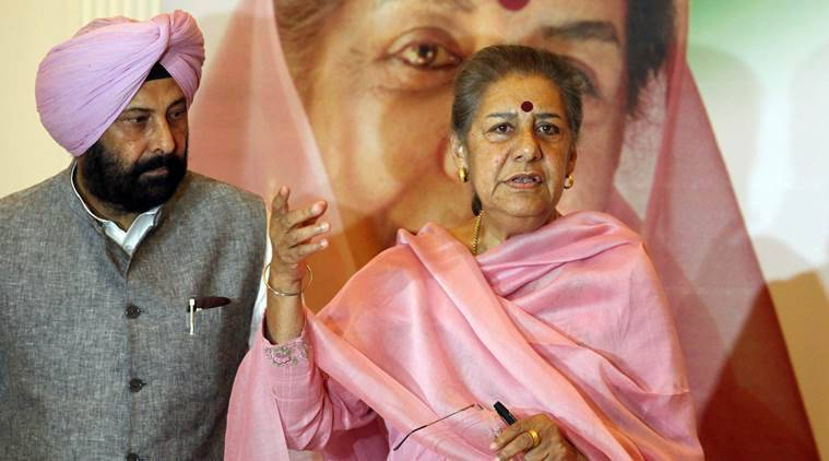 Ambika Soni Congress candidate from Anandpur Sahib constituency with Kewal Dhillon Congress MLA on the last day of Election campaigning in Punjab, during a press conference in Sector 9 of Chandigarh on Monday, April 28 2014. Express Photo by Kamleshwar Singh