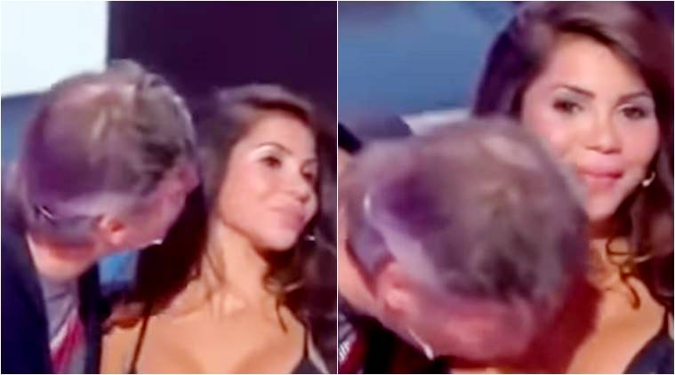 Video: Outrage after man kisses woman on breast on Live TV