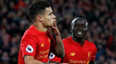 """Britain Soccer Football - Liverpool v West Bromwich Albion - Premier League - Anfield - 22/10/16 Liverpool's Philippe Coutinho celebrates scoring their second goal with Sadio Mane Action Images via Reuters / Ed Sykes Livepic EDITORIAL USE ONLY. No use with unauthorized audio, video, data, fixture lists, club/league logos or """"live"""" services. Online in-match use limited to 45 images, no video emulation. No use in betting, games or single club/league/player publications.  Please contact your account representative for further details."""