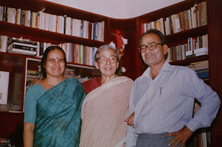 Anand with Mahasweta Devi and his wife Ramani. (Express photo by Tashi Tobgyal)