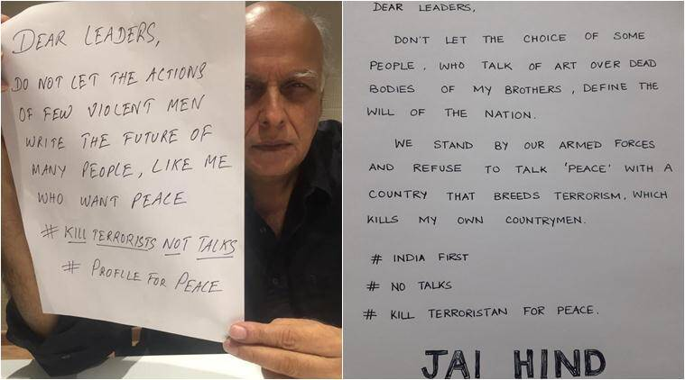 mahesh bhatt, inida, pakistan, uri attack, Baramulla attack, profile for peace, mahesh bhatt profile for peace, mahesh bhatt peace post, india first campaign, profile for peace campaign, india pakistan controversy, india pakistan hatred, surgical stike, india news, pakistan news, trending news, viral news, latest news, indian express