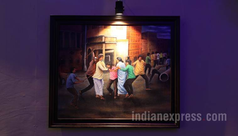 Bhowanipur Durgoutsov Samity celebrating year of 'Inspiration'. The organizer portraying life and work of West Bengal Chief Minister Mamata Banerjee through canvas involving contemporary fraternity of fine arts. Express photo by Partha Paul.Kolkata.05.10.16