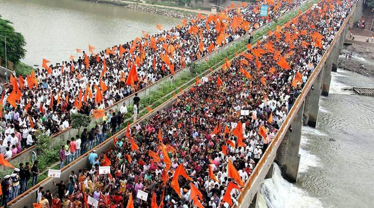 Nashik: People participate in a protest by Maratha Karnti Morcha against Kopardi Rape case in Nashik on Saturday. PTI Photo (PTI9_24_2016_000116b) *** Local Caption ***