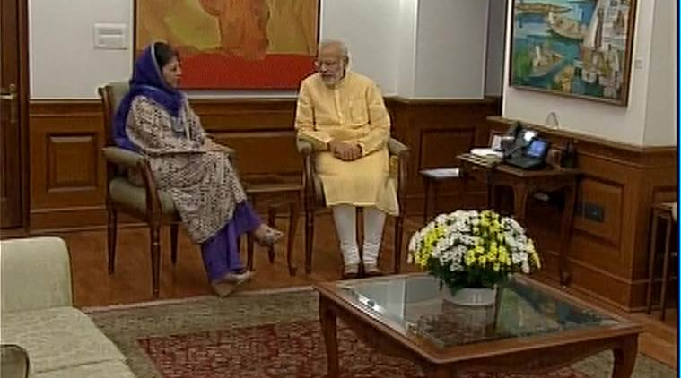 Mehbooba Mufti, Jammu and kashmir, Narendra Modi, Modi, PM Modi, J&K, J&K Chief minister, J&K CM mehbooba Mufti, mehbboba mufti meets Pm Modi, mehbooba modi, Kashmir situation, kashmir unrest, kashmir valley, kashmir curfew, burhan wani aftermath, Kashmir news, india news, indian express news