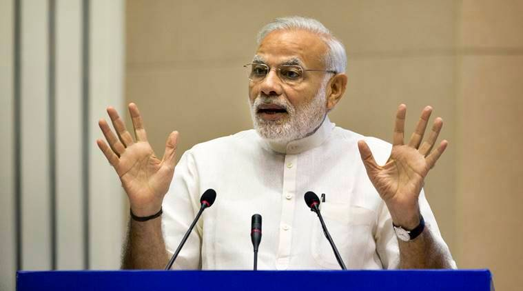 Indian Prime Minister Narendra Modi speaks at a two day conference on India sanitation in New Delhi, India, Friday, Sept. 30, 2016. (AP Photo/Manish Swarup)