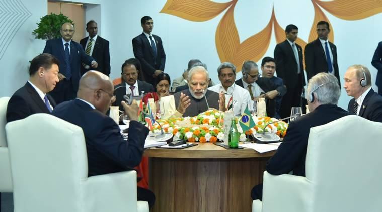 BRICS Summit 2016: Prime Minister Narendra Modi address the working meet Sunday morning. Photo: MEA India