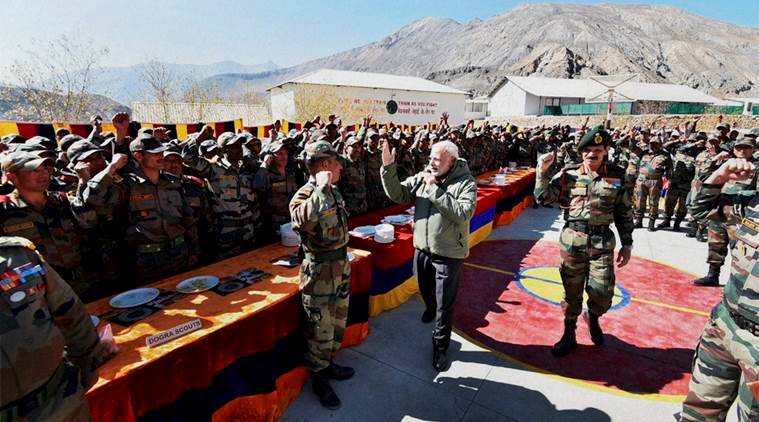 modi, narendra modi, modi meets jawans, indian army, jawans, bsf, modi indian army, modi bsf, modi soldiers, bharat mata ki jai, india news