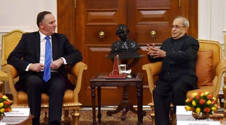 New Delhi: President Pranab Mukherjee with New Zealand Prime Minister John Key during a meeting at Rashtrapati Bhavan in New Delhi on Wednesday. PTI Photo by Vijay Verma (PTI10_26_2016_000273B)