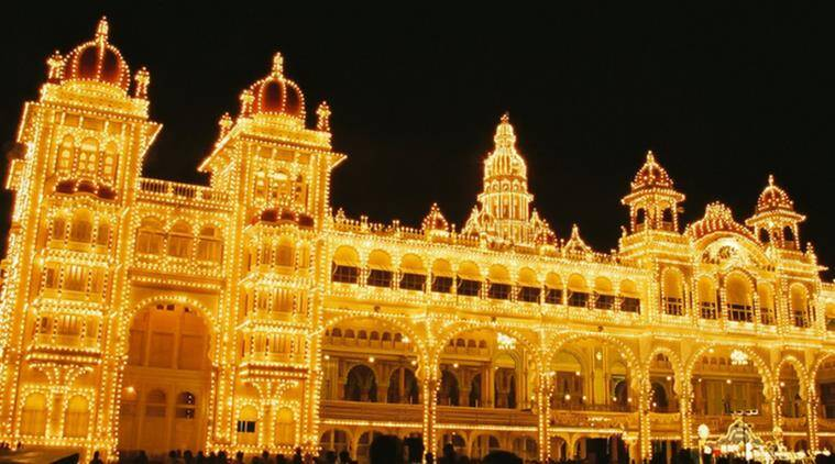 The Mysore Palace illuminated with lights. (Source: Flickr/Ananth BS)