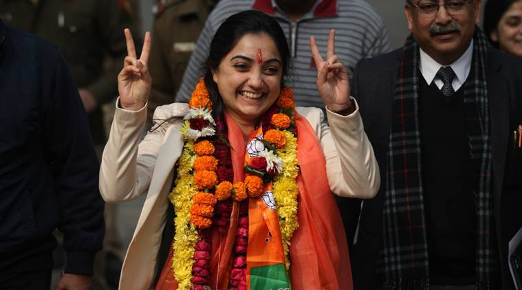 BJP candidate Nupur Sharma after filing her nomination for the forthcoming election in the capital New Delhi on wednesday. Express Photo by Tashi Tobgyal New Delhi 210115