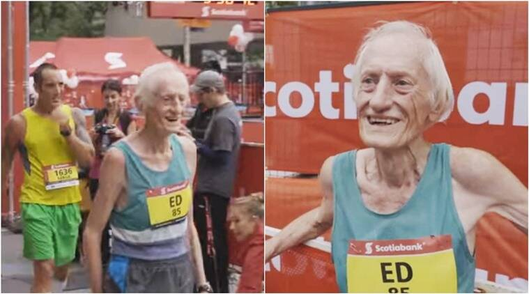 canada old man shatters world record, old man shatters world record, 86 year old shatters marathon world record, man breaks marathon world record in canada, old man shatters world record in canada, old man runs breaks record in canada, indian express, indian express news