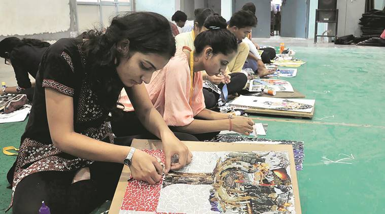 Students participate in the PU Zone-A Youth and Heritage Festival at PGGC-11 Wednesday.  Sahil Walia