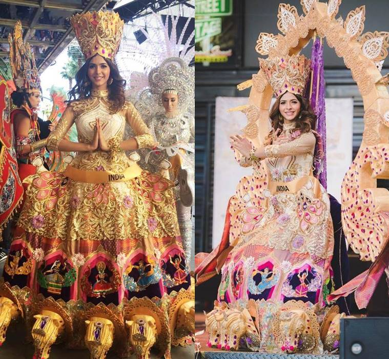 Pankhuri Gidwani wearing the grand costume during National Costume Round at Miss Grand International. (Source: Facebook/Pankhuri Gidwani)