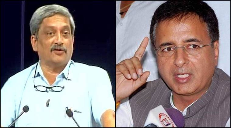 parrikar, congress, surgical strikes