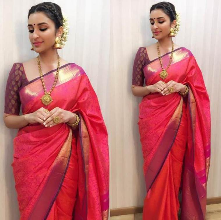 Parineeti Chopra in a sari from Jade by Monica & Karishma. (Source: Instagram/Sanjana Batra)