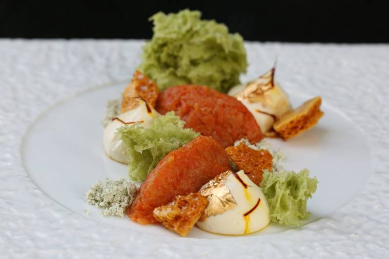 Pista Micro Sponge, Gajar Halwa with Saffron Mousse and Himalayan Honey Comb. What more could you ask for in a dessert?
