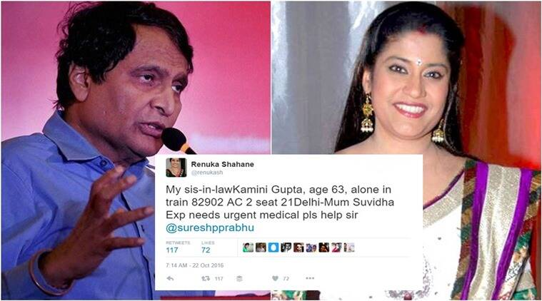 renuka shahane sos tweet to suresh prabhu, suresh prabhu, renuka shahane, suresh prabhu tweet for help, suresh prabhu railways tweet, suresh prabhu sos tweet for help, renuka shahane sos tweet to suresh prabhu, indian express, indian express news