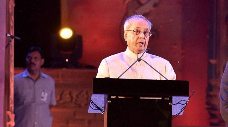 "New Delhi: President Pranab Mukherjee addresses the concluding ceremony of ""Rashtriya Sanskriti Mahotsav-2016"" in New Delhi on Monday. PTI Photo by Atul Yadav (PTI10_24_2016_000281A)"