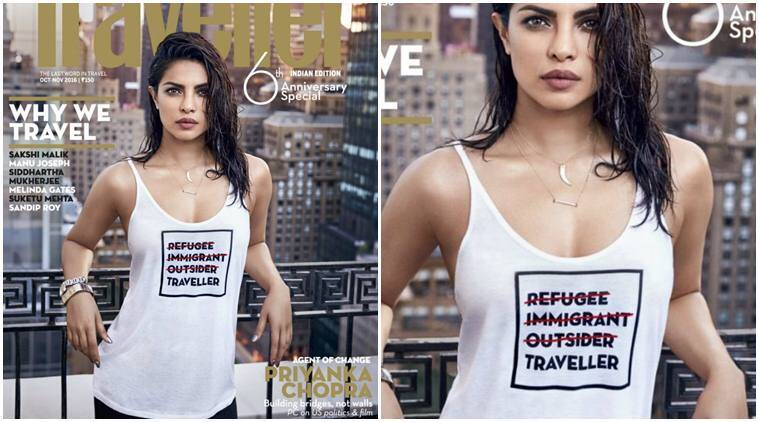 Priyanka Chopra, Priyanka Chopra actress, Priyanka Chopra news, Priyanka Chopra latest cover, Priyanka Chopra refugee, Priyanka Chopra message, Priyanka Chopra tshirt, Priyanka Chopra movies, Priyanka Chopra upcoming shows, entertainment news, indian express, indian express news