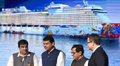 Genting Dream, Mumbai cruise liner, Mumbai ship, Genting dream cruise liner launch, cruise ship Mumbai pictures, Photos, images, devendra fadnavis, Nitin Gadkari, thatcher brown, Mumbai Port photos, pictures, international cruise tourism, India news, news, national news, latest news, Mumbai news