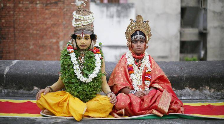 In gods we trust: Ram and Sita, played by Abhishek Mishra (L) and Pawan Giri, respectively. (Express photo by Tashi Tobgyal)