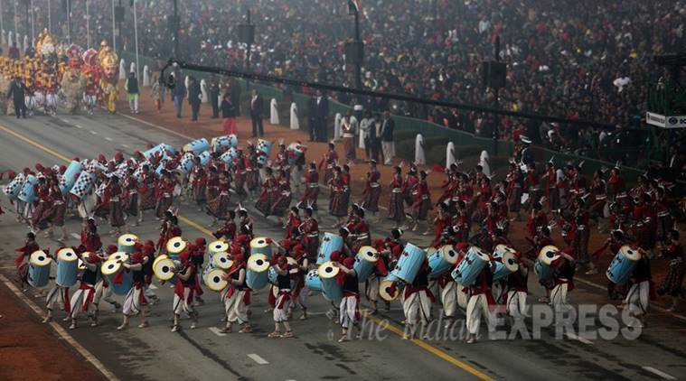 School Children perform at the Republic Day parade in the capital New Delhi on tuesday. Express Photo by Tashi Tobgyal New Delhi 260116
