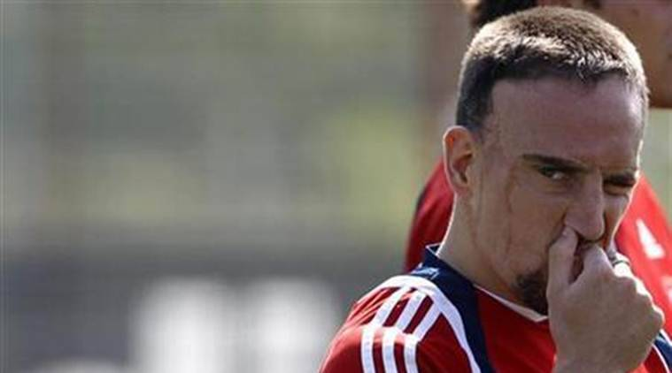Bayern Munich's Ribery gestures during training session in Munich