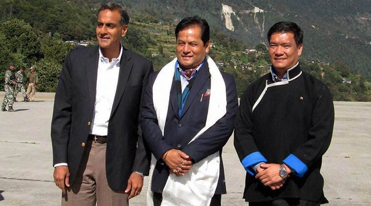 Tawang: Chief Minister of Assam Sarbananda Sonowal with the Arunachal Pradesh Chief Minister Pema Khandu (R) and US Ambassador to India Richard Verma at Tawang in Arunachal Pradesh on Friday. PTI Photo  (PTI10_21_2016_000240A)