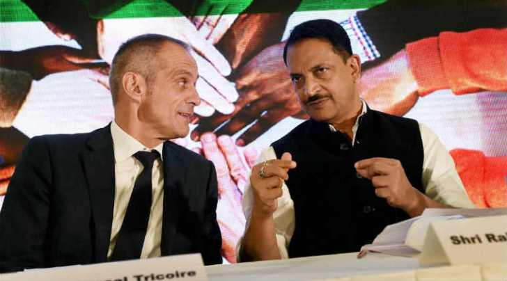 Union Minister of State for Skill Devlopment and Entrepreneurship, Rajiv Pratap Rudy with Chairman and CEO Schneider Electric Jean-Pascal Tricoire during the Skill India Tie up with French Government in enerrgy sector, at New Delhi on Wednesday. PTI Photo