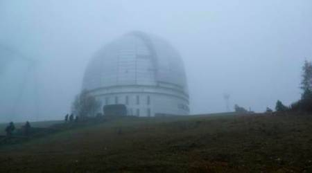 In this photo taken Saturday, Oct. 15, 2016 the Astrophysical Observatory at Nizhny Arkhyz, in Karachay-Cherkessia, southern Russia. Set high in the mountains of the North Caucasus, the Special Astrophysical Observatory of the Russian Academy of Sciences once housed the world's largest space telescope when it was opened in the 1970s. The Observatory is the setting for an art installation that explores the near-infinite reaches of both outer space and the human imagination. (AP Photo/Kate de Pury)