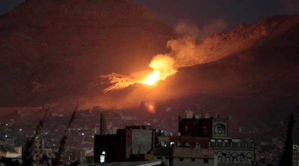 "File-This Oct. 14, 2016, file photo shows fire and smoke rise after a Saudi-led airstrike hit a site believed to be one of the largest weapons depots on the outskirts of Yemen's capital, Sanaa. The warring parties in Yemen have agreed to a 72-hour cease-fire which is to take effect shortly before midnight Wednesday, the U.N. special envoy to Yemen announced Monday, Oct. 17, 2016. A U.N. statement said Special Envoy Ismail Ould Cheikh Ahmed ""welcomes the restoration of the Cessation of Hostilities, which will spare the Yemeni people further bloodshed and will allow for the expanded delivery of humanitarian assistance."" (AP Photo/Hani Mohammed, File)"