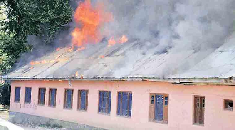 kashmir, kashmir schools set fire to, kashmir schools set afire, kashmir schools set ablaze, three kashmir schools set afire, 3 kashmir schools set afire, kashmir unrest, kashmir curfew, kashmir news, burhan wani, burhan wani killing, india news, indian express