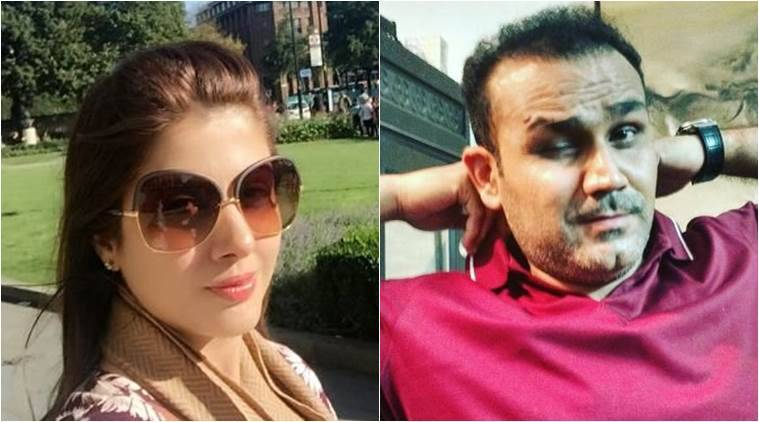 Sportsmen's wives - Virendra Sehwag with his wife Aarti Sehwag