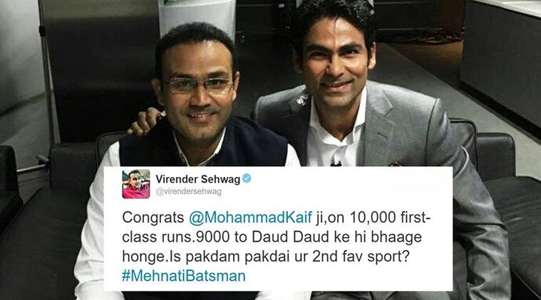 Virender Sehwag, Virender Sehwag twitter, virender sehwag funny tweets, virender sehwag mohammad kaif congrats post, funny chat between sehwag and kaif, mohammad kaif 10,000 runs, indian express, indian express news