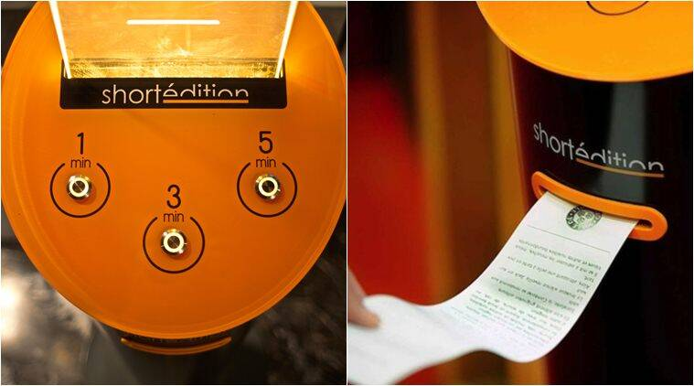 short story, story vending machine, france, short story dispenser, short story vending machine, short edition, short edition vending machine, story atms, free stories vending machine, books news, latest news, lifestyle news, indian express