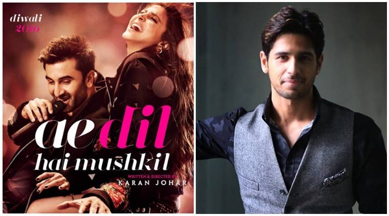 ADHM, Ae dil Hai  Mushkil, Sidharth Malhotra Ae dil Hai  Mushkil controversy, Sidharth Malhotra Kapoor & Sons co-star Fawad Khan, Ae dil Hai  Mushkil release, Ranbir Kapoor, Anushka Sharma, Ae Dil Hai Mushkil updates, ae dil hai mushkil news, bollywood updates, bollywood news, entertainment news, indian express news, indian express