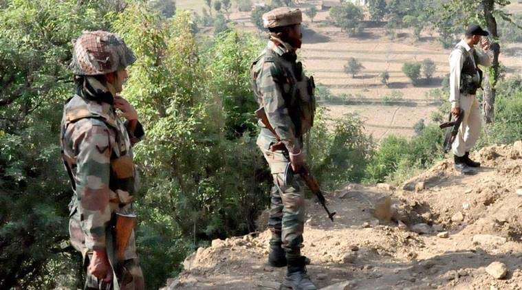 Rajouri: Army Jawans & Jammu Kashmir Police during a search operation after dozens of rusted grenades and bullets were recovered during excavation in Rajouri district of Jammu and Kashmir on Thursday. PTI Photo  (PTI10_20_2016_000277B)