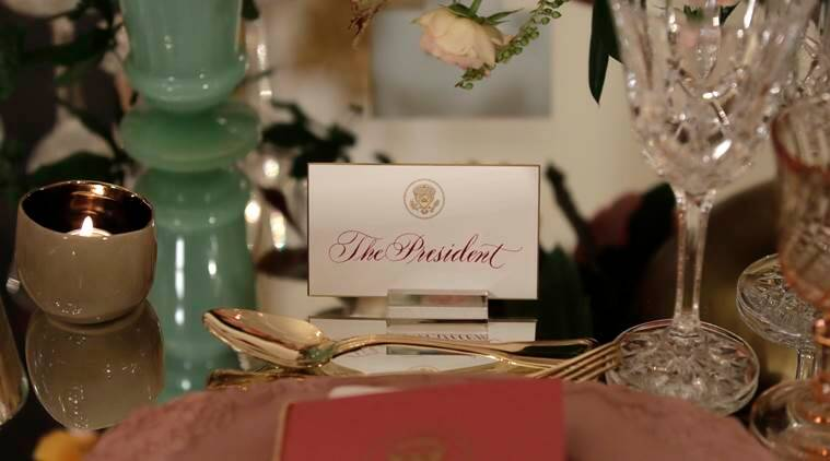 President Barack Obama's place card is seen on a table during a preview in advance of the State Dinner in honor of the Official Visit of Italian Prime Minister Matteo Renzi and his wife Agnese Landini, Monday, Oct. 17, 2016, in the State Dining Room of the White House in Washington. (AP Photo/Carolyn Kaster)