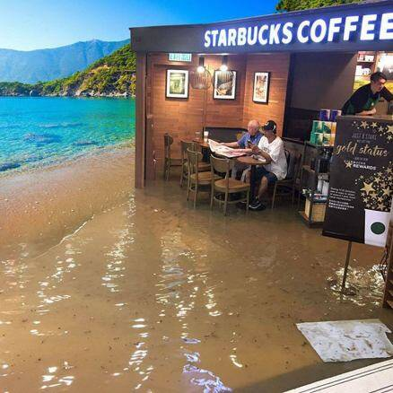 This uncle sitting inside Starbucks sipping on coffee despite massive flood has started a crazy Photoshop battle